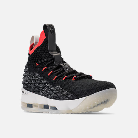 Three Quarter view of Men's Nike LeBron 15 Basketball Shoes in Black/Sail/Bright Crimson