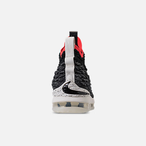 Back view of Men's Nike LeBron 15 Basketball Shoes in Black/Sail/Bright Crimson