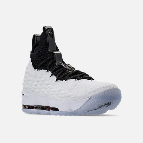 Three Quarter view of Men's Nike LeBron 15 Graffiti Basketball Shoes in White/Black/University Red