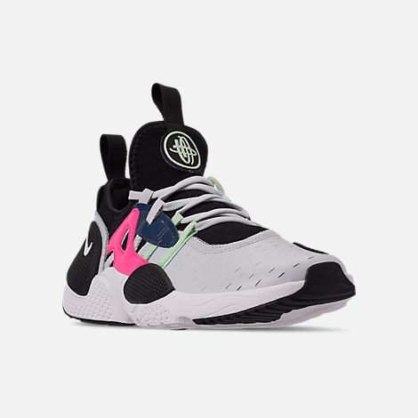 Three Quarter view of Boys' Big Kids' Nike Huarache E.D.G.E Casual Shoes in Pure Platinum/White/Black/Hyper Pink
