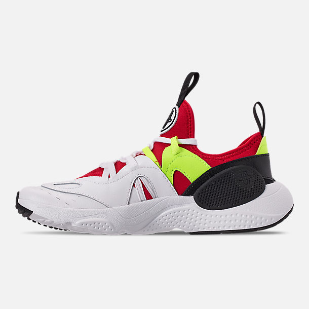 Left view of Boys' Big Kids' Nike Huarache E.D.G.E Casual Shoes in White/Black/Volt/University Red
