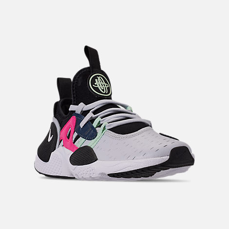 Three Quarter view of Girls' Little Kids' Nike Huarache E.D.G.E Casual Shoes in Pure Platinum/White/Black/Hyper Pink