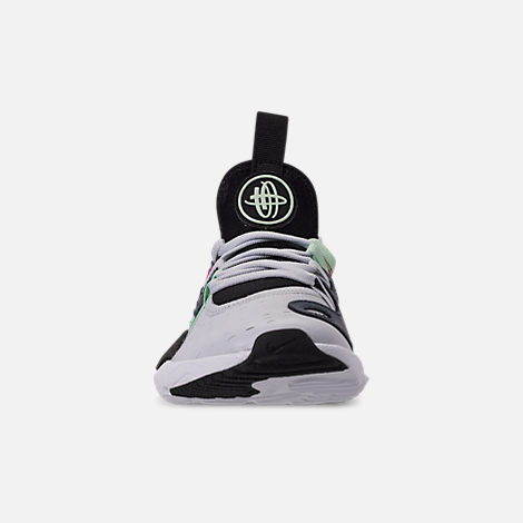 Front view of Girls' Little Kids' Nike Huarache E.D.G.E Casual Shoes in Pure Platinum/White/Black/Hyper Pink