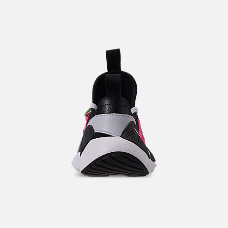 Back view of Girls' Little Kids' Nike Huarache E.D.G.E Casual Shoes in Pure Platinum/White/Black/Hyper Pink