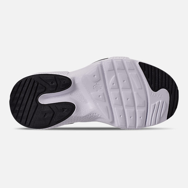 Bottom view of Girls' Little Kids' Nike Huarache E.D.G.E Casual Shoes in Pure Platinum/White/Black/Hyper Pink