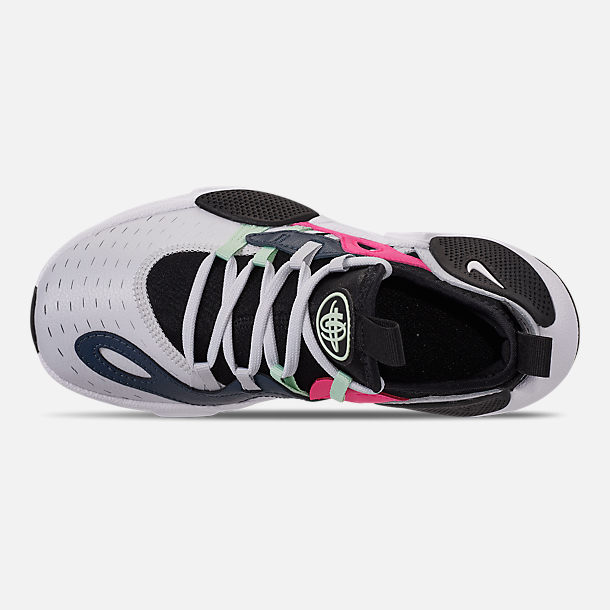 Top view of Girls' Little Kids' Nike Huarache E.D.G.E Casual Shoes in Pure Platinum/White/Black/Hyper Pink