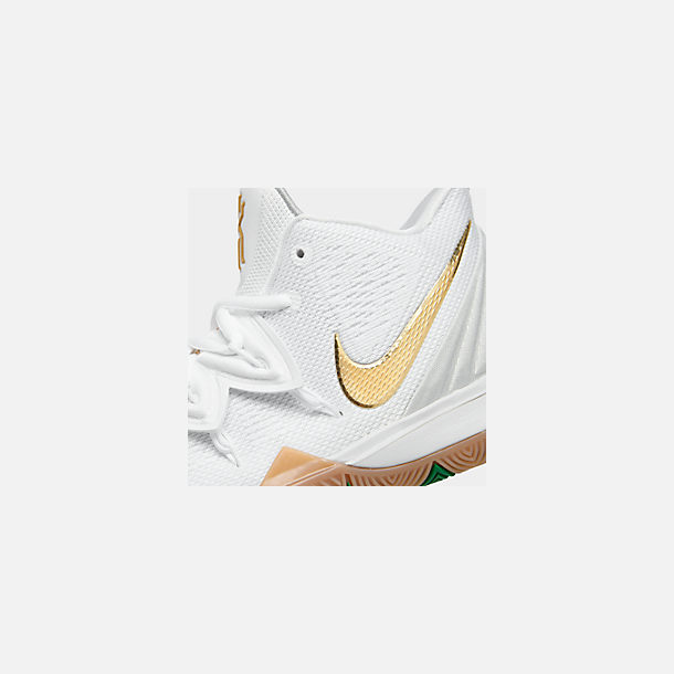 Front view of Boys' Big Kids' Nike Kyrie 5 Basketball Shoes in White/Metallic Gold/Pure Platinum
