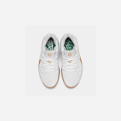Back view of Boys' Big Kids' Nike Kyrie 5 Basketball Shoes in White/Metallic Gold/Pure Platinum