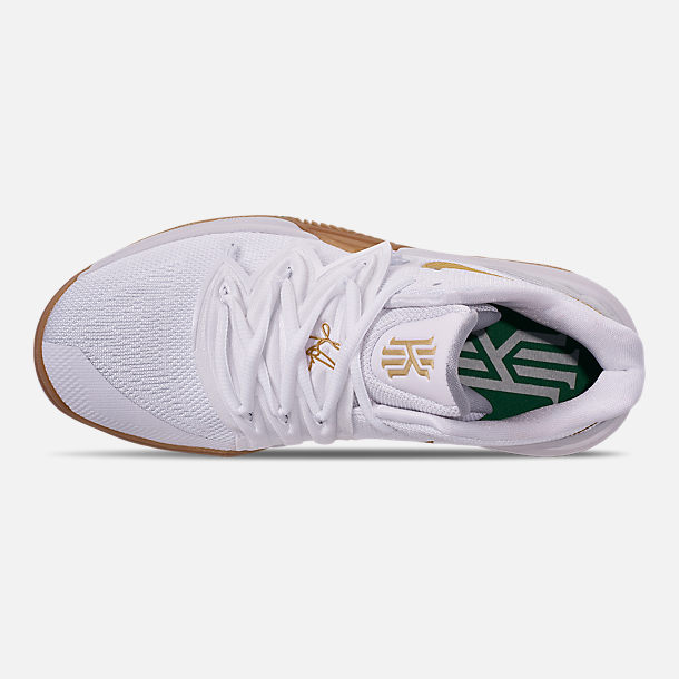 Top view of Boys' Big Kids' Nike Kyrie 5 Basketball Shoes in White/Metallic Gold/Pure Platinum