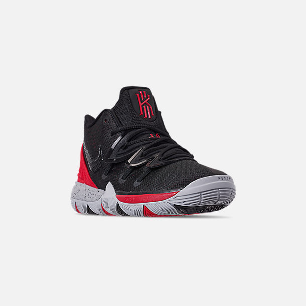Three Quarter view of Boys' Little Kids' Nike Kyrie 5 Basketball Shoes in University Red/Black/Pure Platinum
