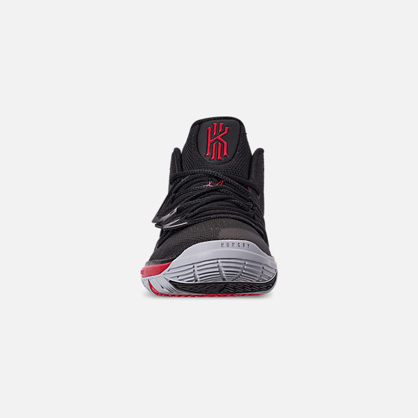 Front view of Boys' Little Kids' Nike Kyrie 5 Basketball Shoes in University Red/Black/Pure Platinum