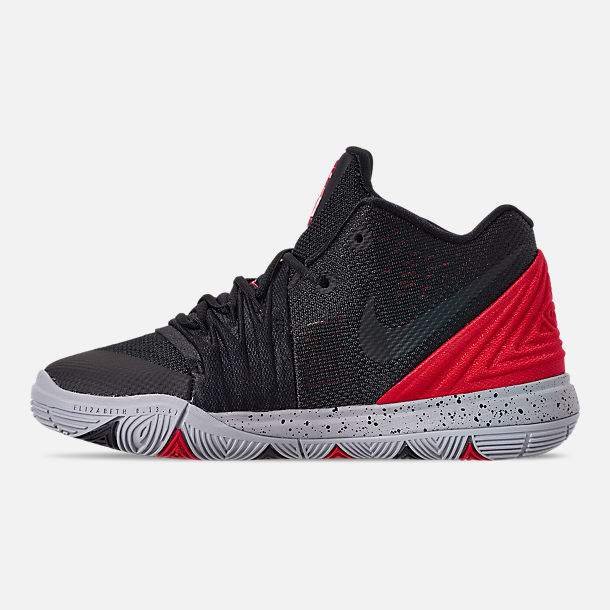 Left view of Boys' Little Kids' Nike Kyrie 5 Basketball Shoes in University Red/Black/Pure Platinum