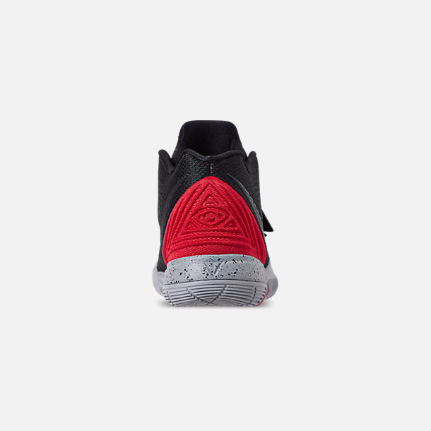 Back view of Boys' Little Kids' Nike Kyrie 5 Basketball Shoes in University Red/Black/Pure Platinum