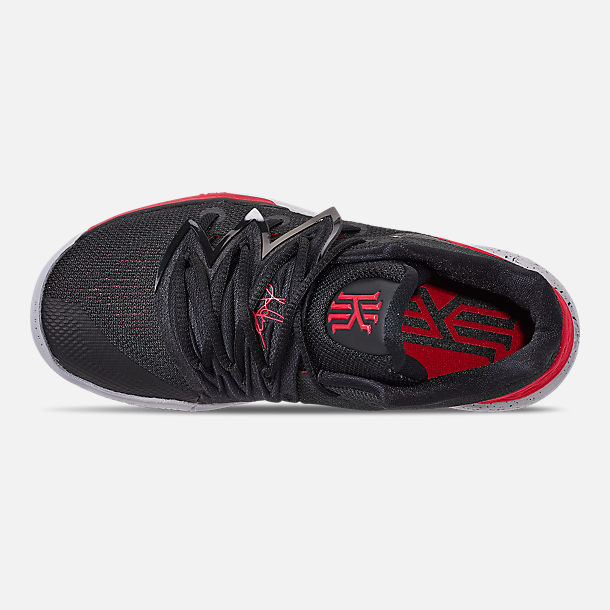Top view of Boys' Little Kids' Nike Kyrie 5 Basketball Shoes in University Red/Black/Pure Platinum
