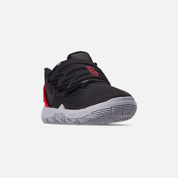 Three Quarter view of Boys' Toddler Nike Kyrie 5 Basketball Shoes in University Red/Black/Pure Platinum