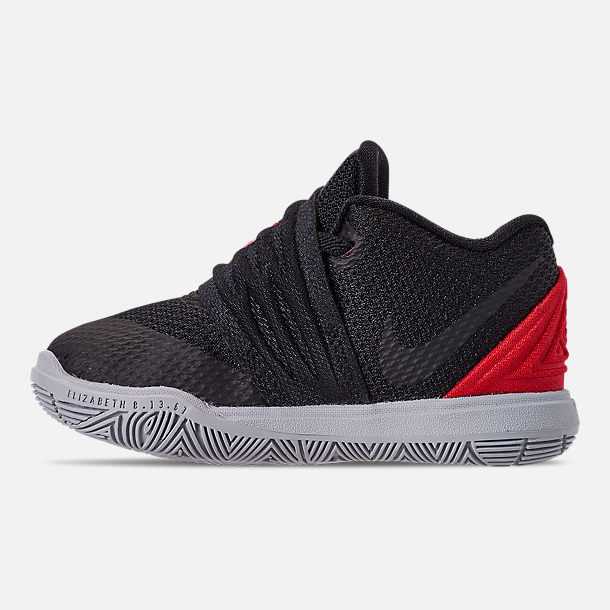 Left view of Boys' Toddler Nike Kyrie 5 Basketball Shoes in University Red/Black/Pure Platinum