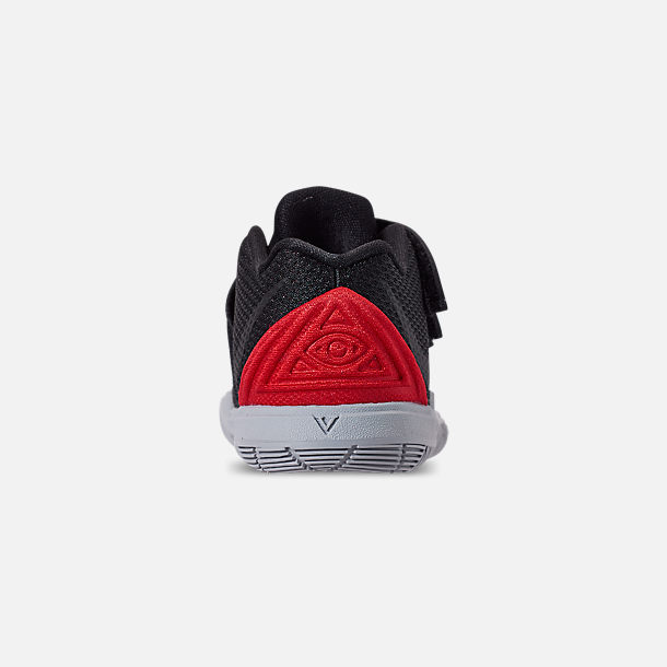Back view of Boys' Toddler Nike Kyrie 5 Basketball Shoes in University Red/Black/Pure Platinum
