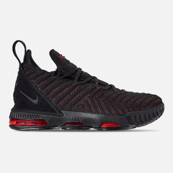 Right view of Boys' Big Kids' Nike LeBron 16 Basketball Shoes in Black/Black/University Red