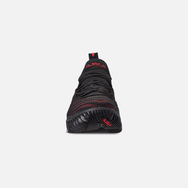 Front view of Boys' Big Kids' Nike LeBron 16 Basketball Shoes in Black/Black/University Red
