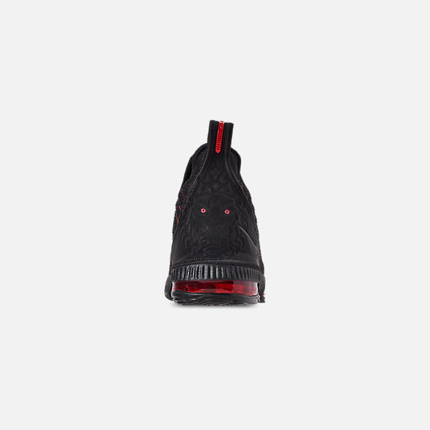 Back view of Boys' Big Kids' Nike LeBron 16 Basketball Shoes in Black/Black/University Red