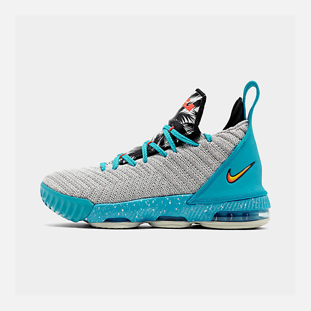 Right view of Boys' Big Kids' Nike LeBron 16 Basketball Shoes in Light Bone/Tour Yellow/Bright Crimson