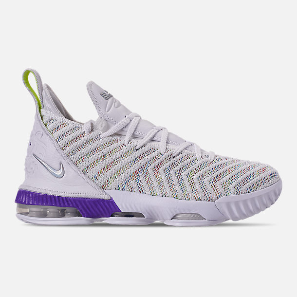 Right view of Boys' Big Kids' Nike LeBron 16 Basketball Shoes in White/Multicolor/Bright Crimson