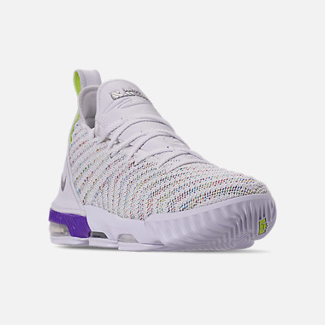 Three Quarter view of Boys' Big Kids' Nike LeBron 16 Basketball Shoes in White/Multicolor/Bright Crimson