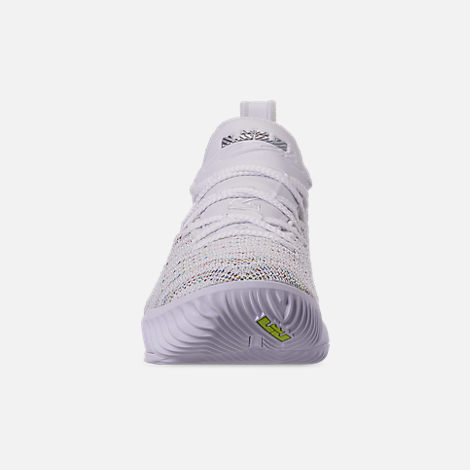 Front view of Boys' Big Kids' Nike LeBron 16 Basketball Shoes in White/Multicolor/Bright Crimson