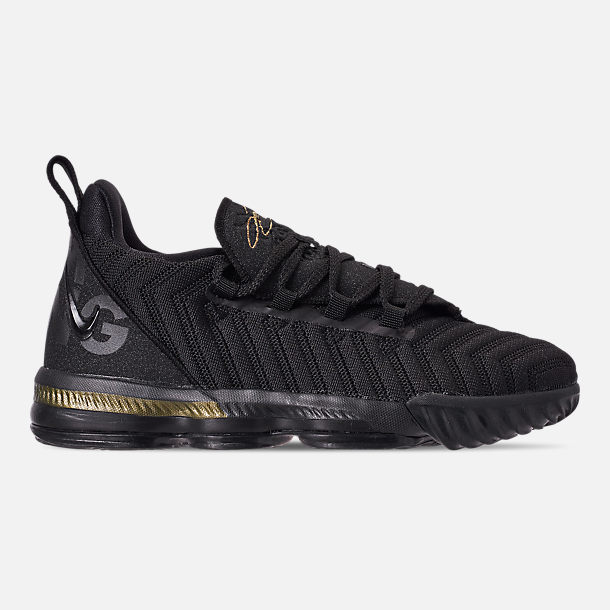 Right view of Boys' Little Kids' Nike LeBron 16 Basketball Shoes in Black/Metallic Gold/Black