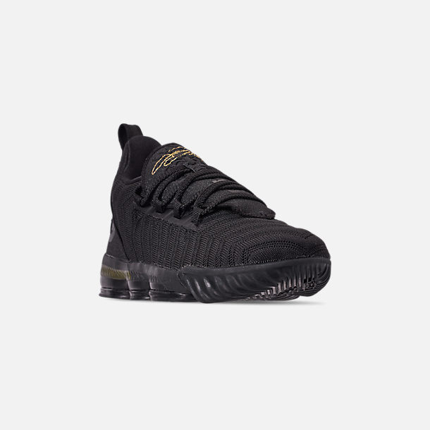 Three Quarter view of Boys' Little Kids' Nike LeBron 16 Basketball Shoes in Black/Metallic Gold/Black