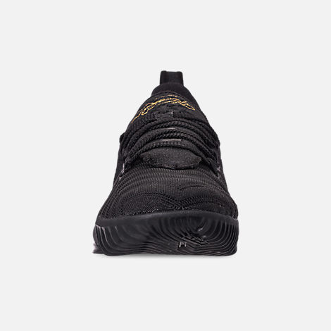 Front view of Boys' Little Kids' Nike LeBron 16 Basketball Shoes in Black/Metallic Gold/Black