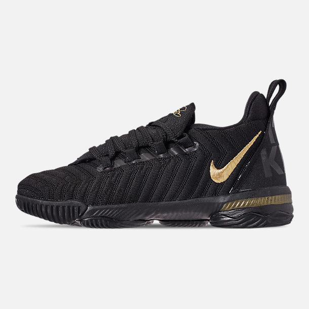 Left view of Boys' Little Kids' Nike LeBron 16 Basketball Shoes in Black/Metallic Gold/Black