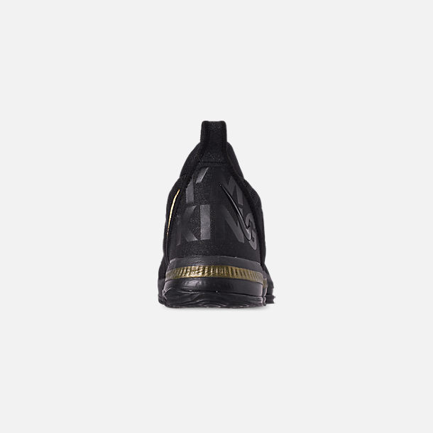 Back view of Boys' Little Kids' Nike LeBron 16 Basketball Shoes in Black/Metallic Gold/Black