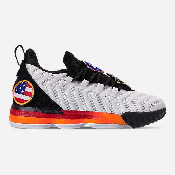 Right view of Boys' Little Kids' Nike LeBron 16 Basketball Shoes in White/Laser Orange