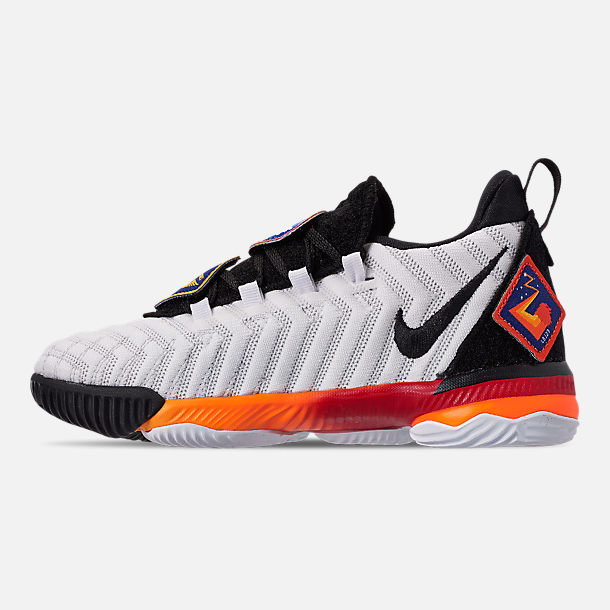 Left view of Boys' Little Kids' Nike LeBron 16 Basketball Shoes in White/Laser Orange