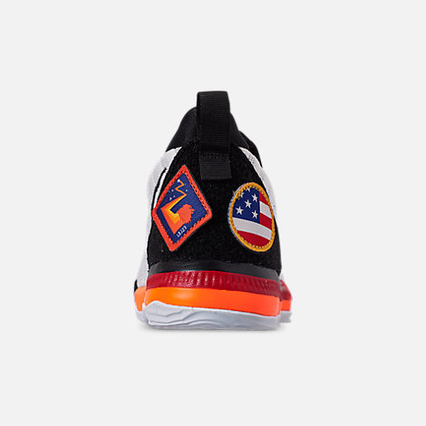 Back view of Boys' Little Kids' Nike LeBron 16 Basketball Shoes in White/Laser Orange