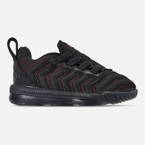 Right view of Boys' Toddler Nike LeBron 16 Basketball Shoes in Black/Black/University Red
