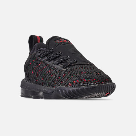 Three Quarter view of Boys' Toddler Nike LeBron 16 Basketball Shoes in Black/Black/University Red