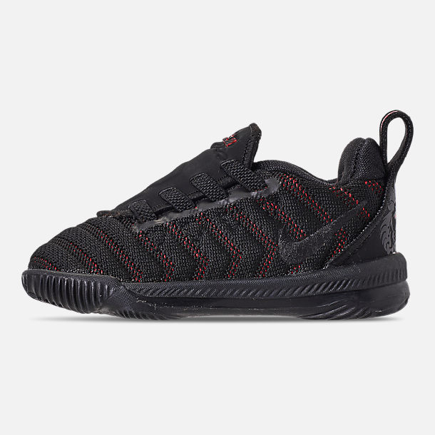 Left view of Boys' Toddler Nike LeBron 16 Basketball Shoes in Black/Black/University Red