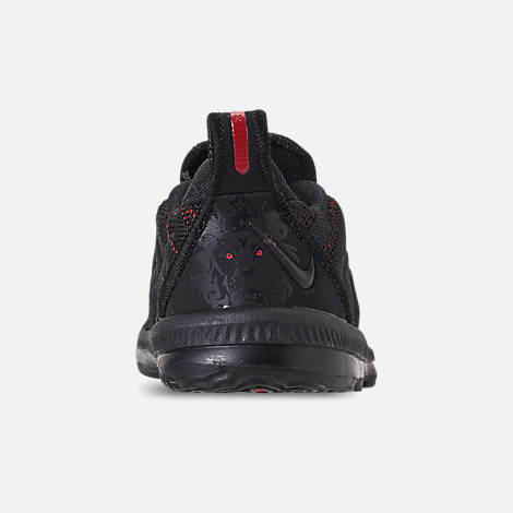 Back view of Boys' Toddler Nike LeBron 16 Basketball Shoes in Black/Black/University Red
