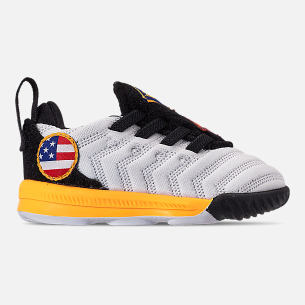 Right view of Boys' Toddler Nike LeBron 16 Basketball Shoes in White/Laser Orange