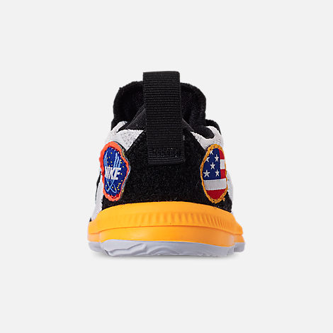 Back view of Boys' Toddler Nike LeBron 16 Basketball Shoes in White/Laser Orange