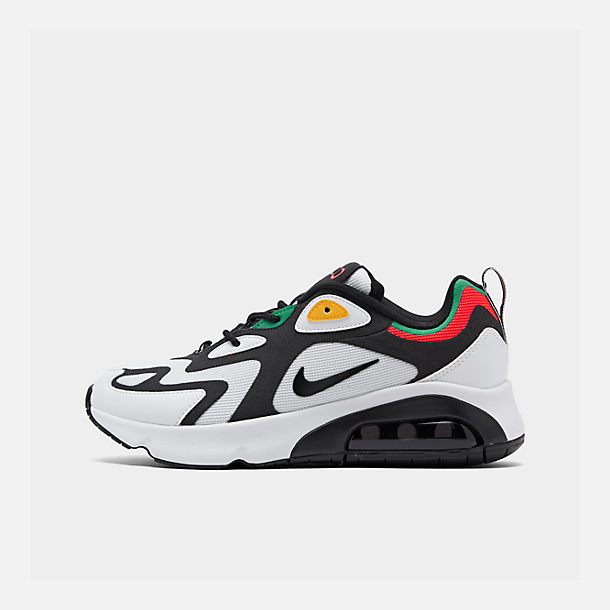Right view of Men's Nike Air Max 200 Casual Shoes in White/Black/Bright Crimson
