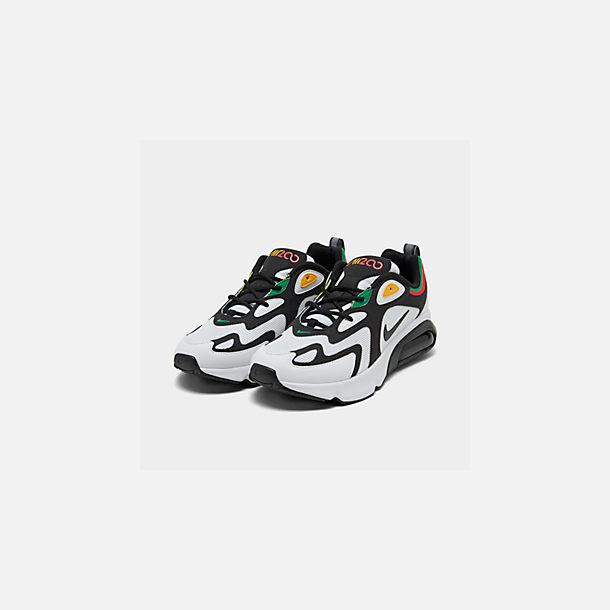 Three Quarter view of Men's Nike Air Max 200 Casual Shoes in White/Black/Bright Crimson