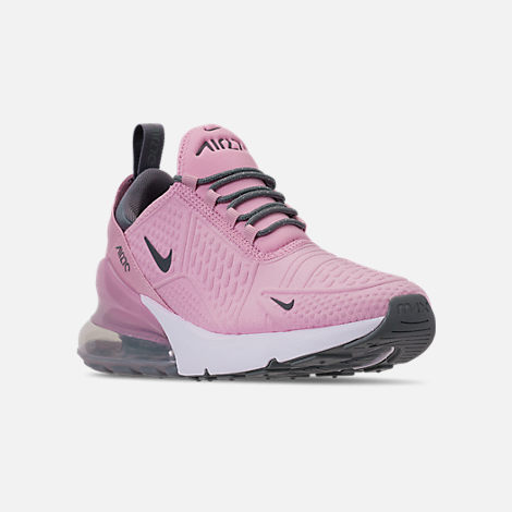 Three Quarter view of Girls' Big Kids' Nike Air Max 270 SE Casual Shoes in Light Arctic Pink/Cool Grey/White