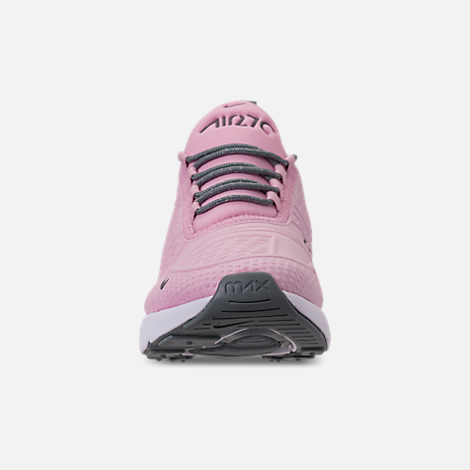 Front view of Girls' Big Kids' Nike Air Max 270 SE Casual Shoes in Light Arctic Pink/Cool Grey/White