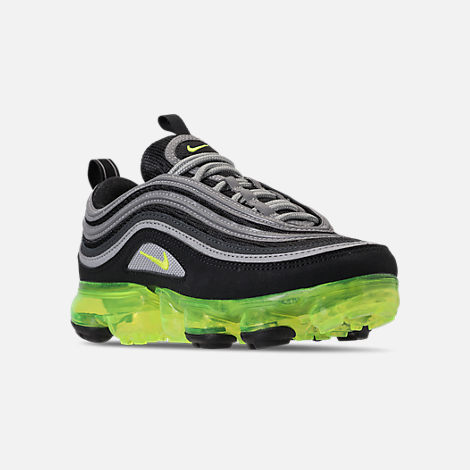 Three Quarter view of Kids' Nike Air VaporMax '97 Casual Shoes in Black/Volt/Metallic Silver/Anthracite