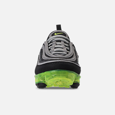 Front view of Kids' Nike Air VaporMax '97 Casual Shoes in Black/Volt/Metallic Silver/Anthracite