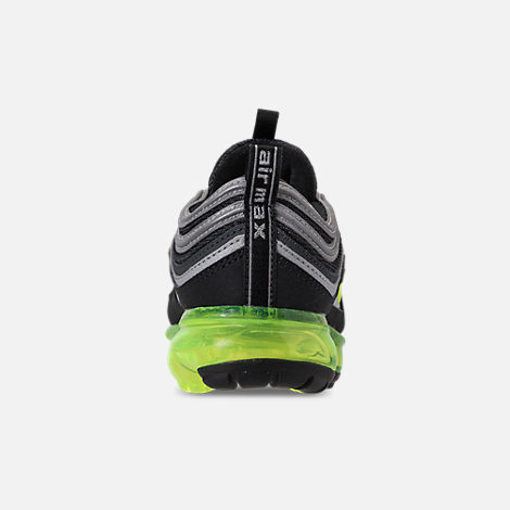Back view of Kids' Nike Air VaporMax '97 Casual Shoes in Black/Volt/Metallic Silver/Anthracite