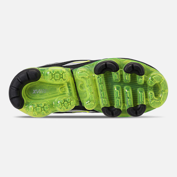 Bottom view of Kids' Nike Air VaporMax '97 Casual Shoes in Black/Volt/Metallic Silver/Anthracite